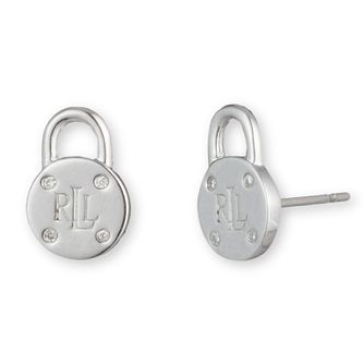 Lauren Ralph Lauren Silver & Diamonds Padlock Stud Earrings - Product number 5200377
