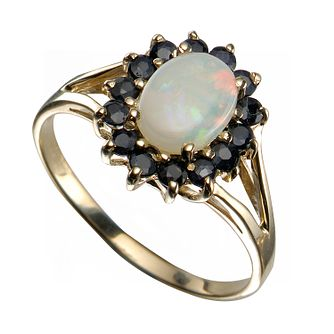 9ct Yellow Gold Opal And Sapphire Ring - Product number 5211182