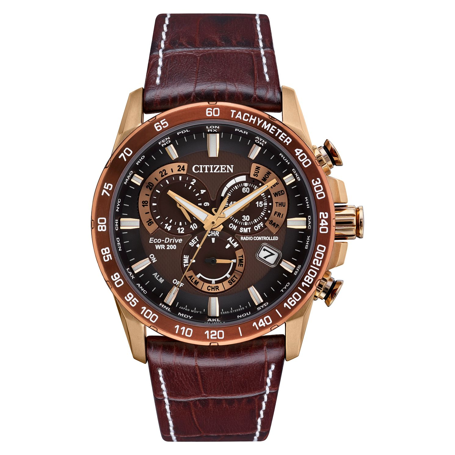 Citizen Eco-Drive PCAT Men's Brown Leather Strap Watch - Product number 5214831