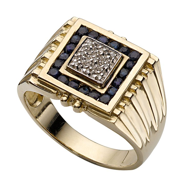 Men S 9ct Gold Sapphire And Diamond Signet Ring H Samuel