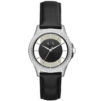 Armani Exchange Ladies' Stone Set Black Leather Strap Watch - Product number 5218543