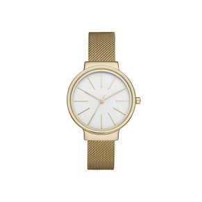 Skagen Ladies' White Dial Gold-Plated Mesh Bracelet Watch - Product number 5218616