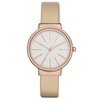Skagen Ladies' White Dial Cream Leather Strap Watch - Product number 5220378