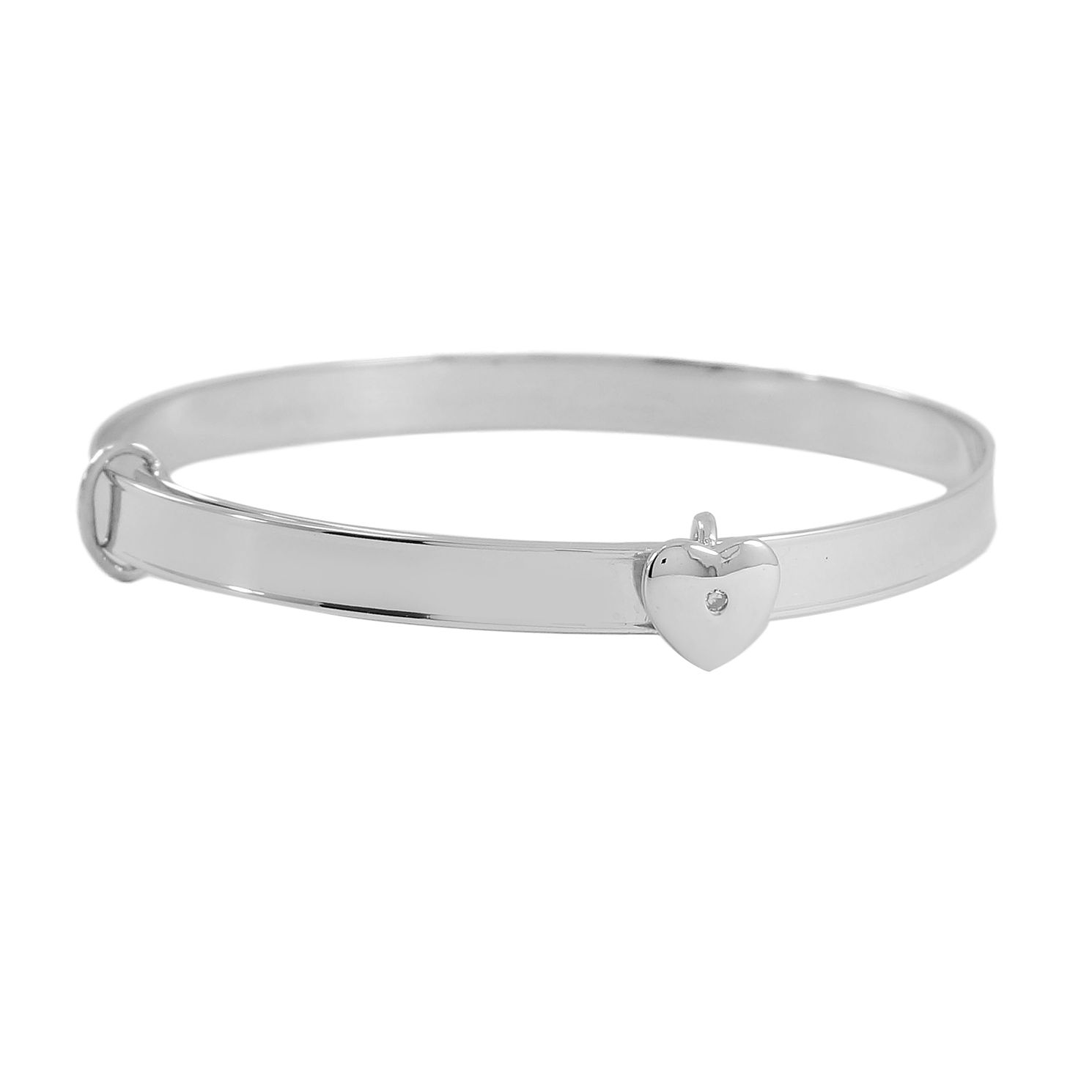 Silver Diamond-Set Heart Expander Bangle - Product number 5220904