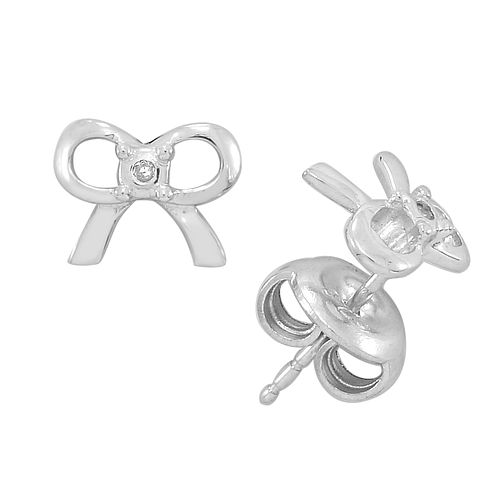 Diamond Wishes Sterling Silver Diamond-set Bow Earrings - Product number 5220912