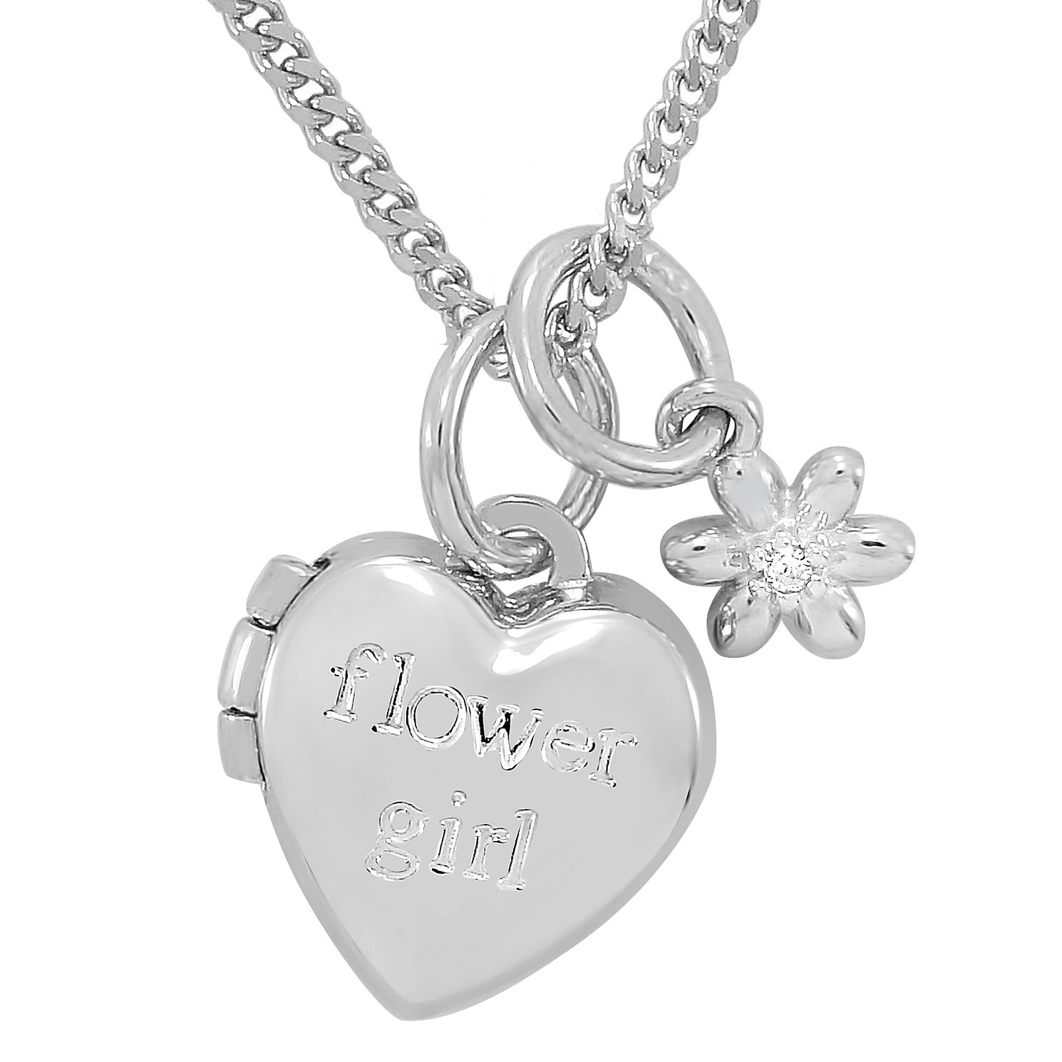 Diamond Wishes Sterling Silver Qxflower Girl' Heart Locket - Product number 5220963