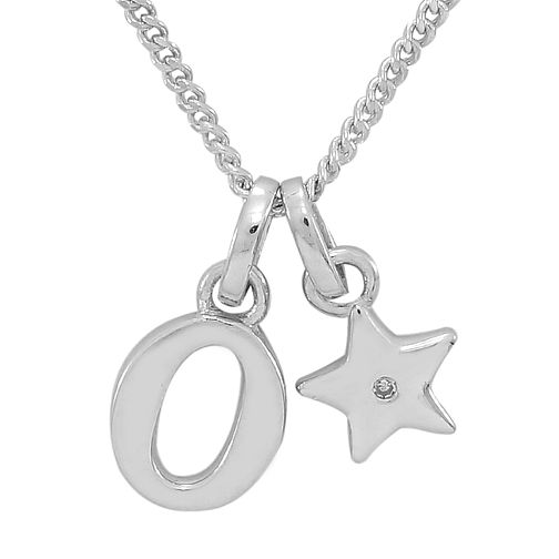 Diamond Wishes Children's Silver 'O' Pendant with Star Charm - Product number 5221250