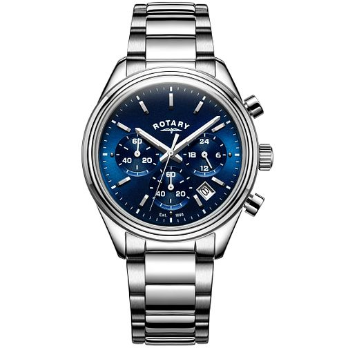 Rotary Men's Stainless Steel Blue Dial Bracelet Watch - Product number 5221803