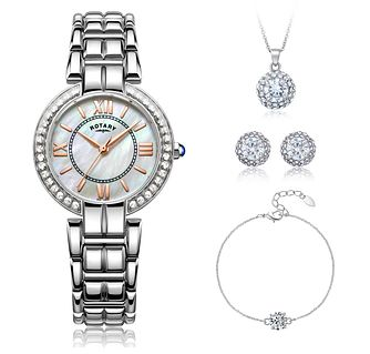 Rotary Ladies' Crystal Dial Watch & Jewellery Gift Set - Product number 5221897