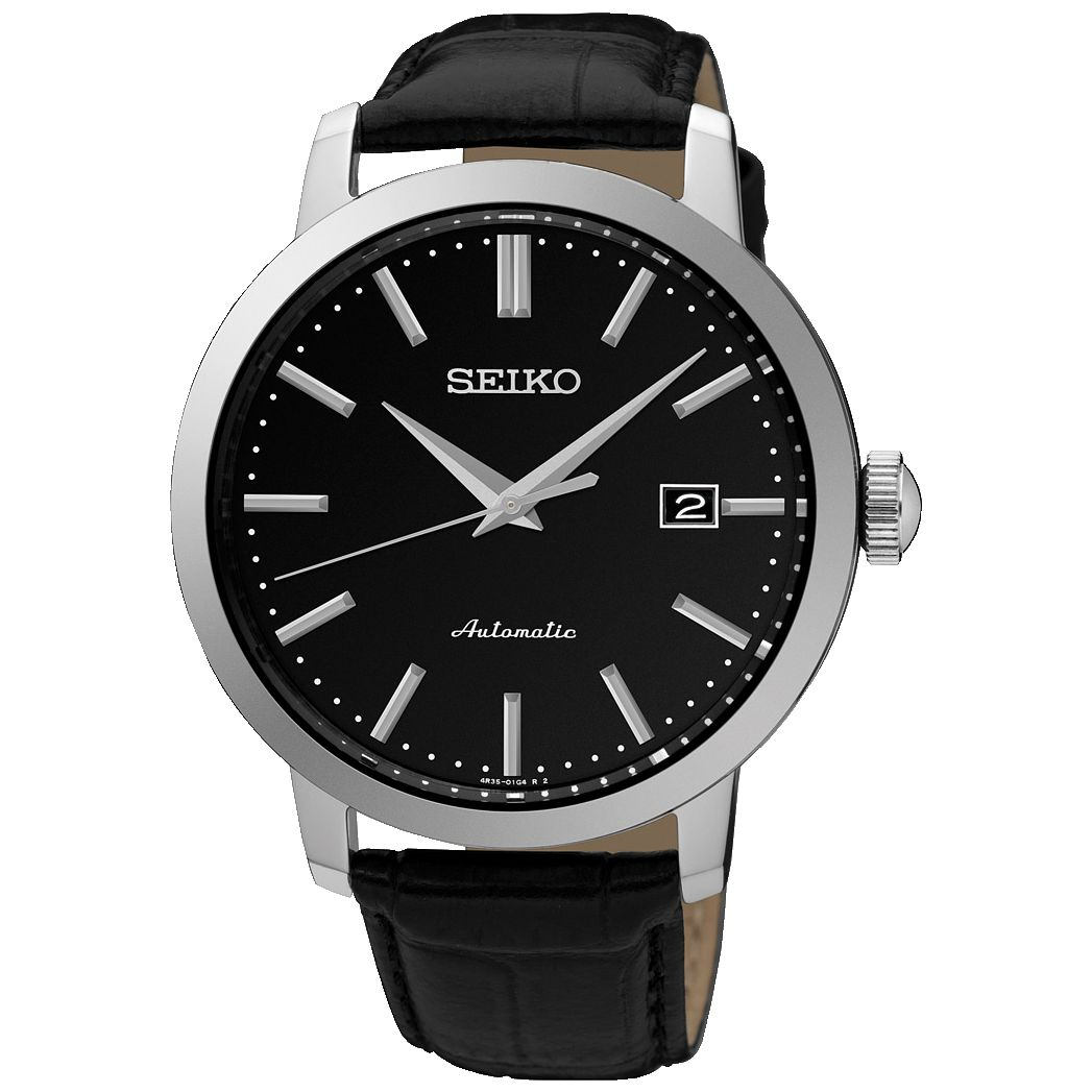 Seiko Automatic Men's Black Leather Strap Watch - Product number 5222370