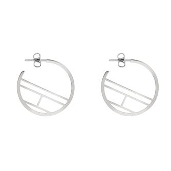 Tommy Hilfiger Stainless Steel Logo Hoop Earrings - Product number 5228506