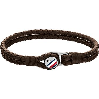 Tommy Hilfiger Button Men's Brown Leather Bracelet - Product number 5228514