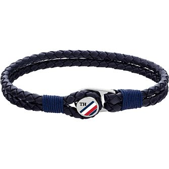 Tommy Hilfiger Button Men's Blue Leather Bracelet - Product number 5228549
