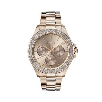 BOSS Premiere Crystal Ladies' Rose Gold Tone Bracelet Watch - Product number 5228611