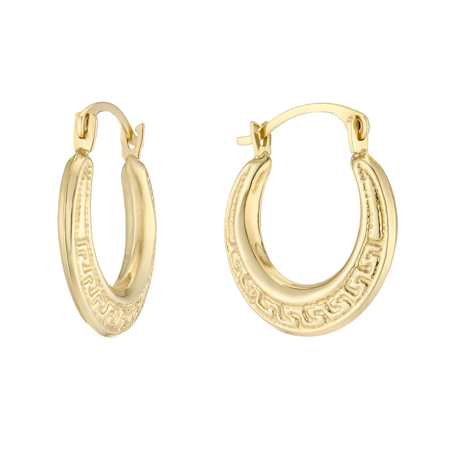 9ct Yellow Gold Textured 10mm Hoop Earrings - Product number 5230403