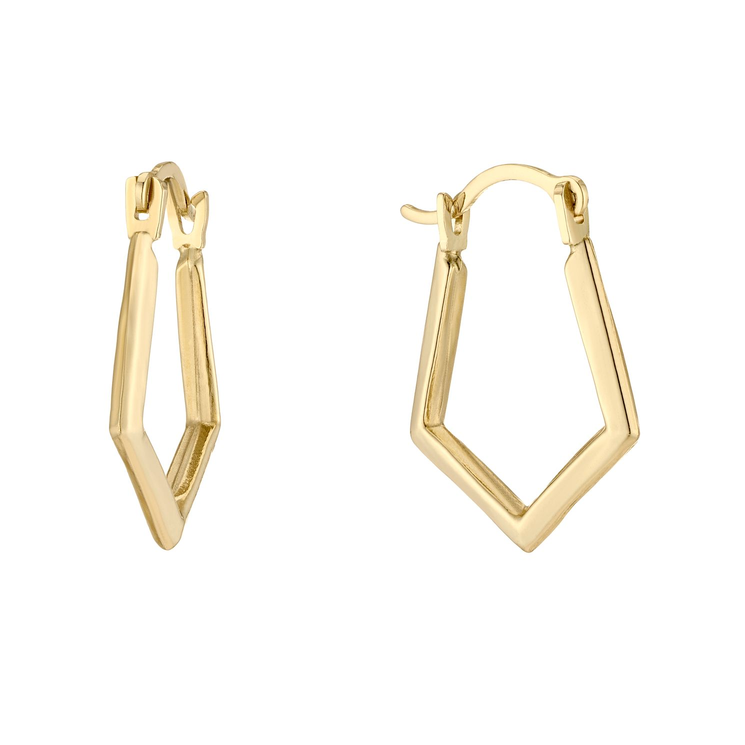 9ct Yellow Gold Pointed Creole Earrings - Product number 5230446