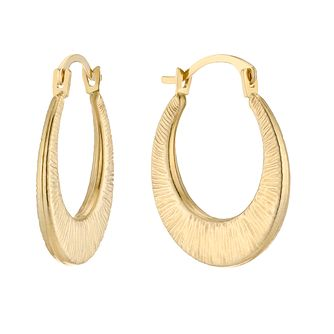 9ct Yellow Gold Edged Creole Hoop Earrings - Product number 5230454
