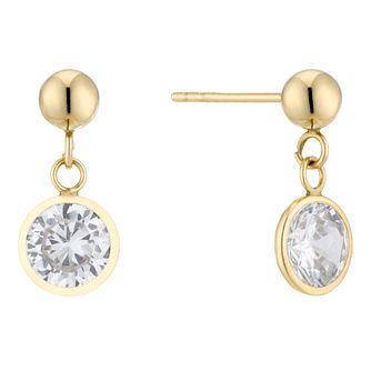 9ct Yellow Gold Cubic Zirconia Round Drop Earrings - Product number 5230462