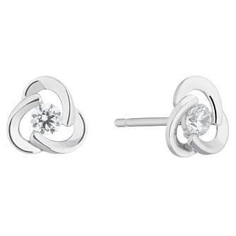 9ct White Gold Cubic Zirconia Knot Stud Earrings - Product number 5230470