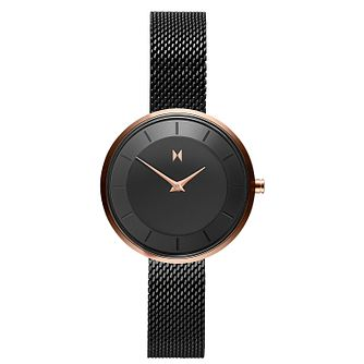 MVMT Mod Ladies' Black IP Mesh Bracelet Watch - Product number 5231043