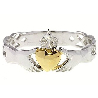 Cailin Sterling Silver & Gold-Plated Claddagh Ring Medium - Product number 5232228