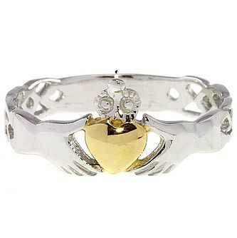 Cailin Sterling Silver & Gold-Plated Claddagh Ring Large - Product number 5232236