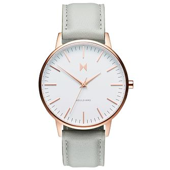MVMT Boulevard Ladies' Grey Leather Strap Watch - Product number 5232384