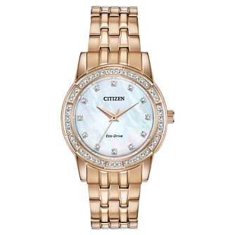 Citizen Eco-Drive Silhouette Crystal Rose Gold Tone Watch - Product number 5233550