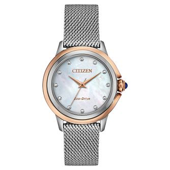 Citizen Eco-Drive Ceci Diamond Ladies' Mesh Bracelet Watch - Product number 5234247