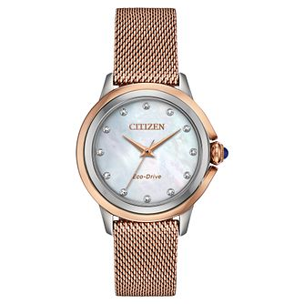 Citizen Eco-Drive Ceci Diamond Ladies' Mesh Bracelet Watch - Product number 5234263
