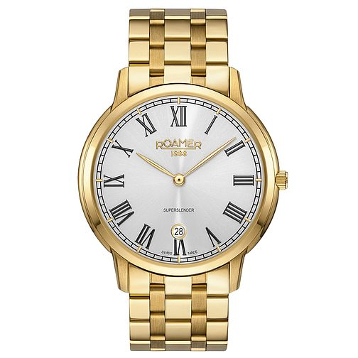 Roamer Super Slender Men's Gold Plated Bracelet Watch - Product number 5235391