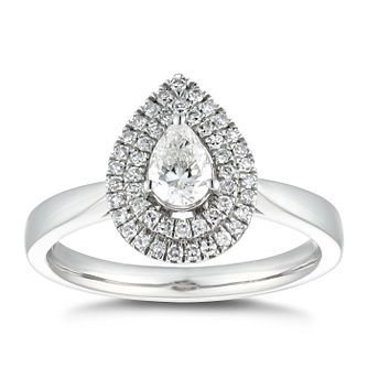 Platinum 0.50ct Total Diamond Pear Double Halo Ring - Product number 5236363