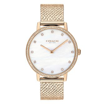 Coach Audrey Ladies' Champagne Gold IP Mesh Bracelet Watch - Product number 5236940