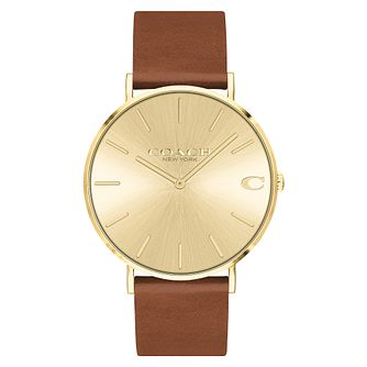 Coach Charles Men's Brown Leather Strap Watch - Product number 5237017