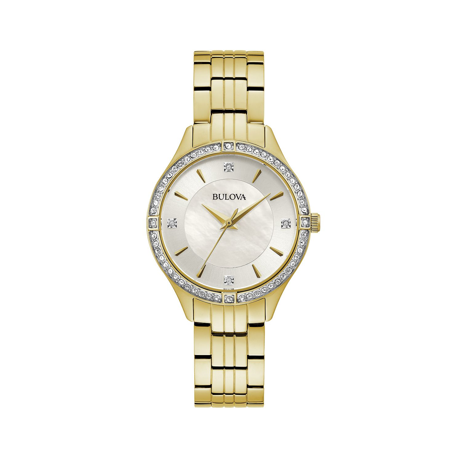 Bulova Crystal Ladies' Yellow Gold Tone Bracelet Watch - Product number 5237181