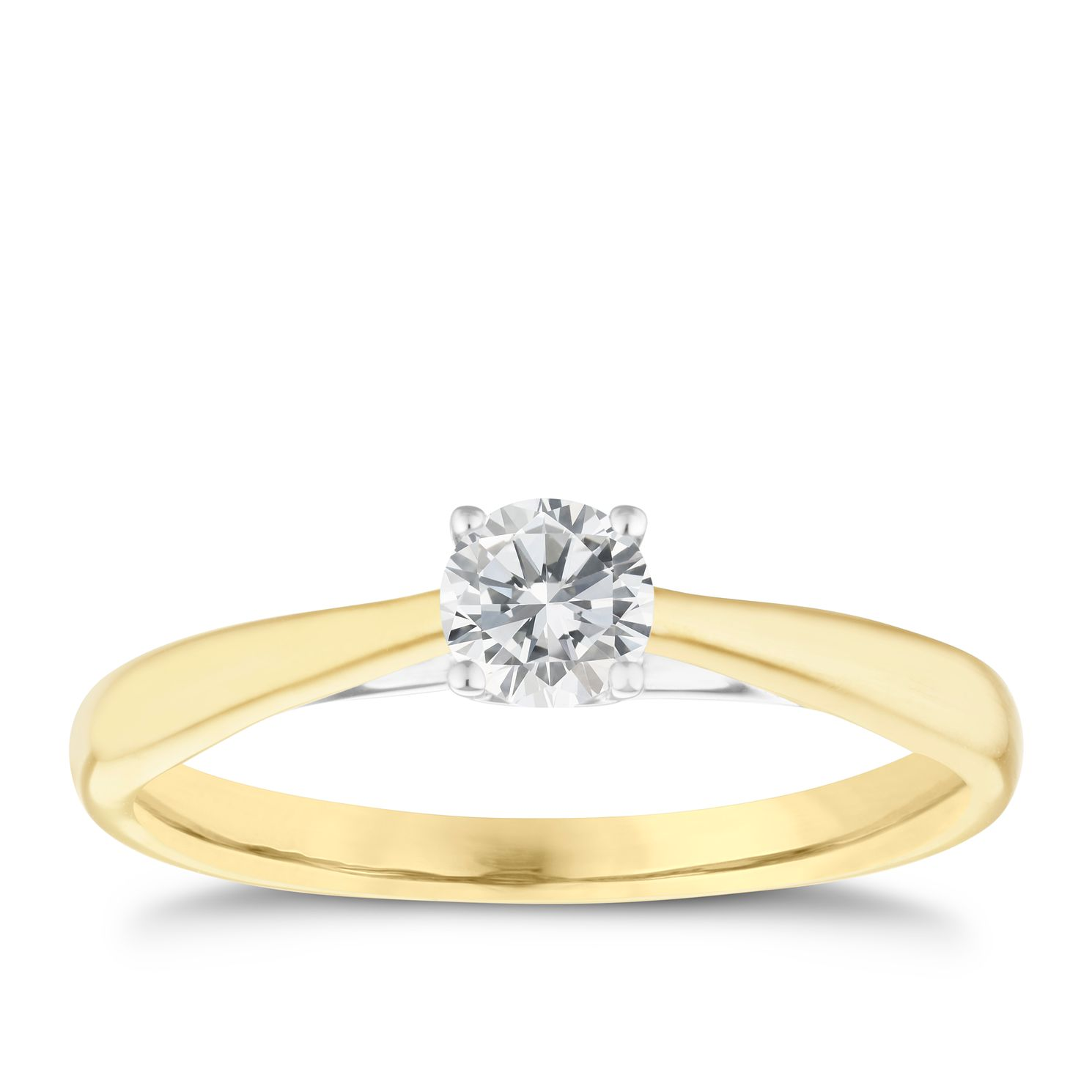 9ct Yellow Gold 0.33ct Diamond Solitaire Ring - Product number 5238439