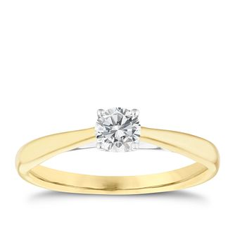 9ct Yellow gold 1/3ct diamond solitaire ring - Product number 5238439