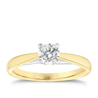 9ct Yellow Gold 0.50ct Diamond Solitaire Ring - Product number 5239036