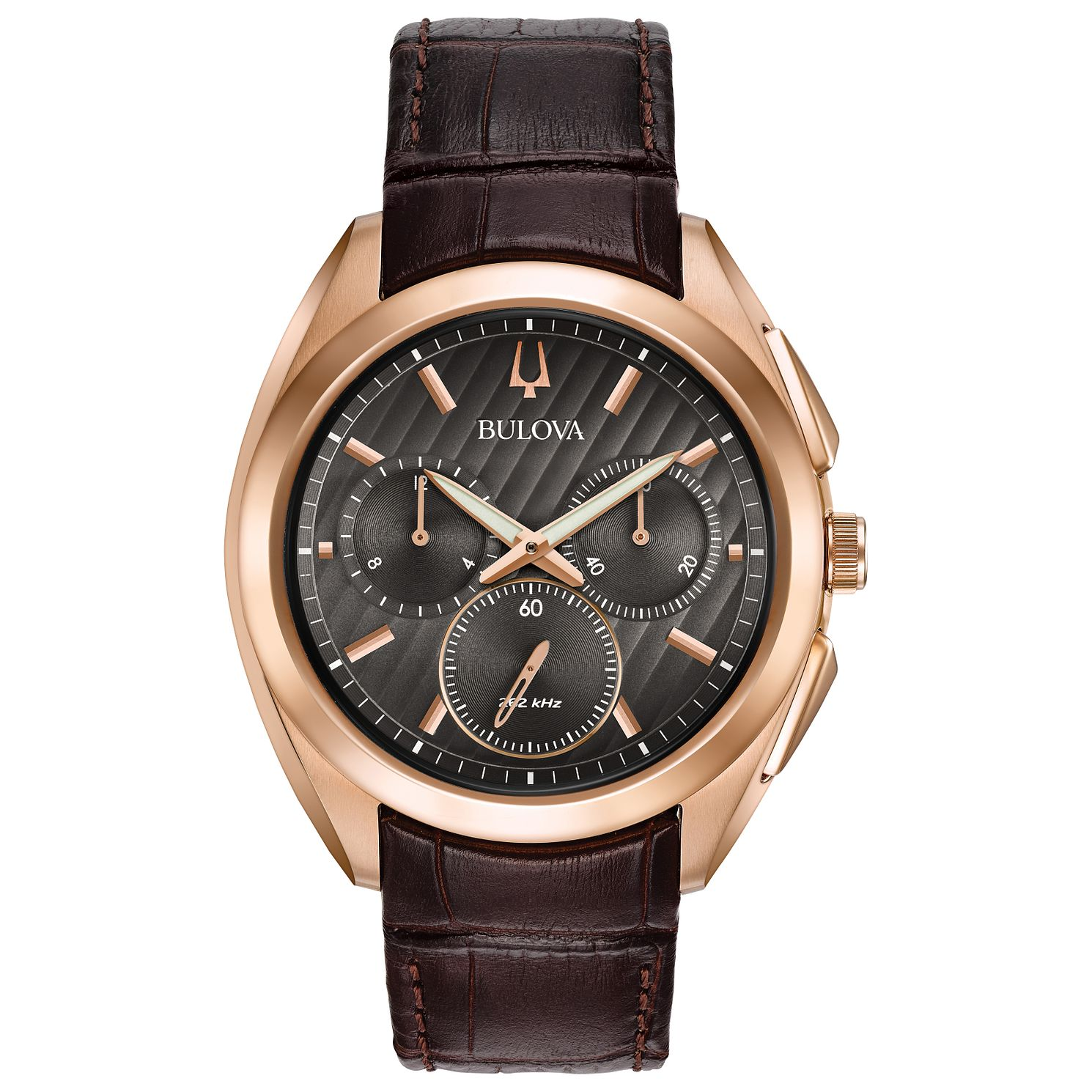 Bulova Curv Men's Chronograph Rose Gold Plated Strap Watch - Product number 5239907