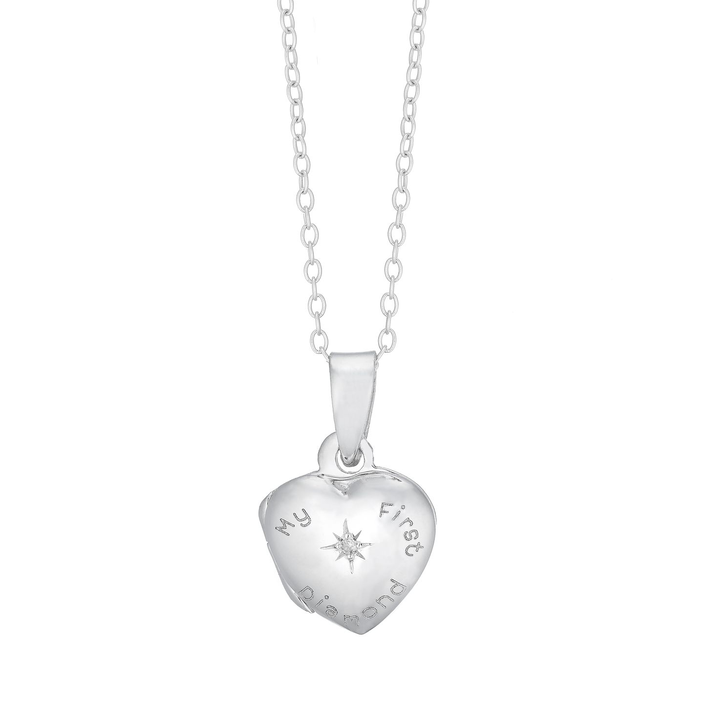 Children's Silver 'My First Diamond' Heart Locket - Product number 5240867