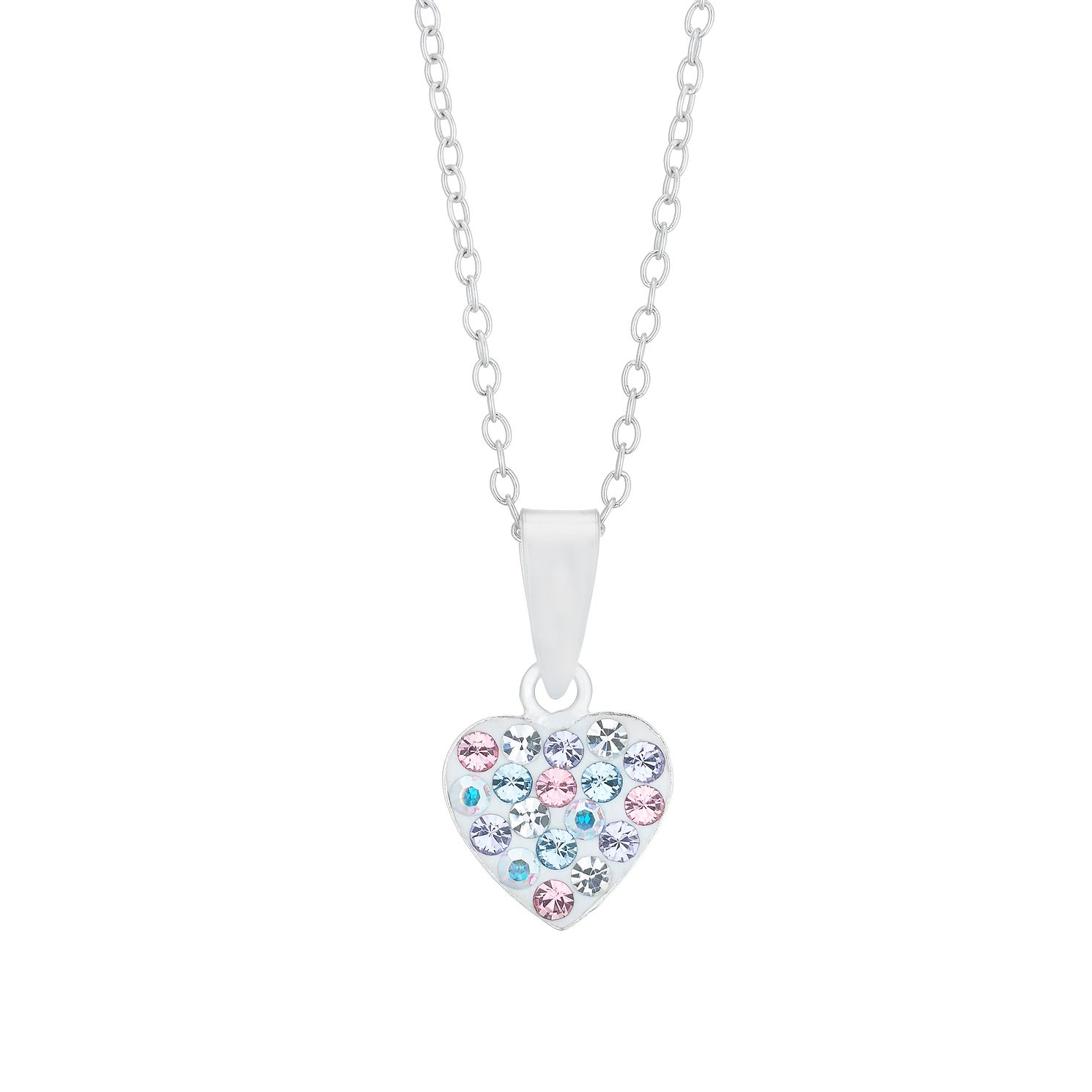 Children's Silver Multicoloured Crystal Heart Pendant - Product number 5240921