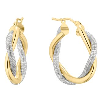 9ct Yellow & White Gold Double Row Twist Hoop Earrings - Product number 5241308