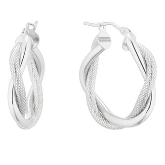 9ct White Gold Twist Creole Hoop Earrings - Product number 5241316