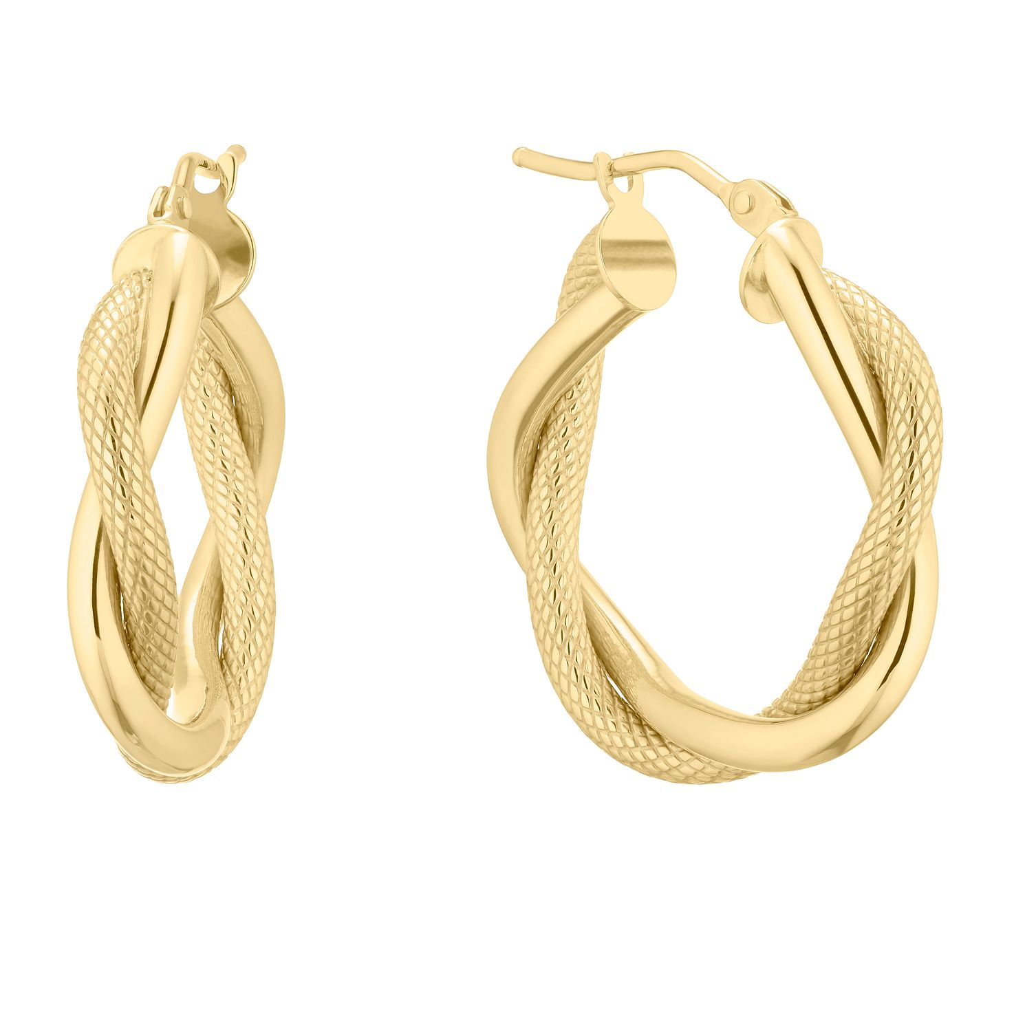9ct Yellow Gold Twist Creole Hoop Earrings - Product number 5241324