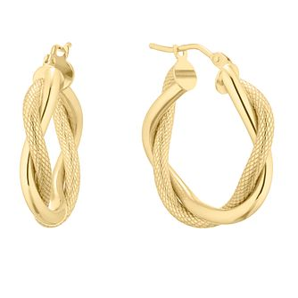 9ct Yellow Gold Double Row Twist Hoop Earrings - Product number 5241324
