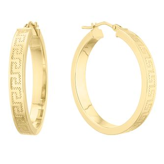 9ct Yellow Gold Greek Key Hoop Earrings - 25mm - Product number 5241332