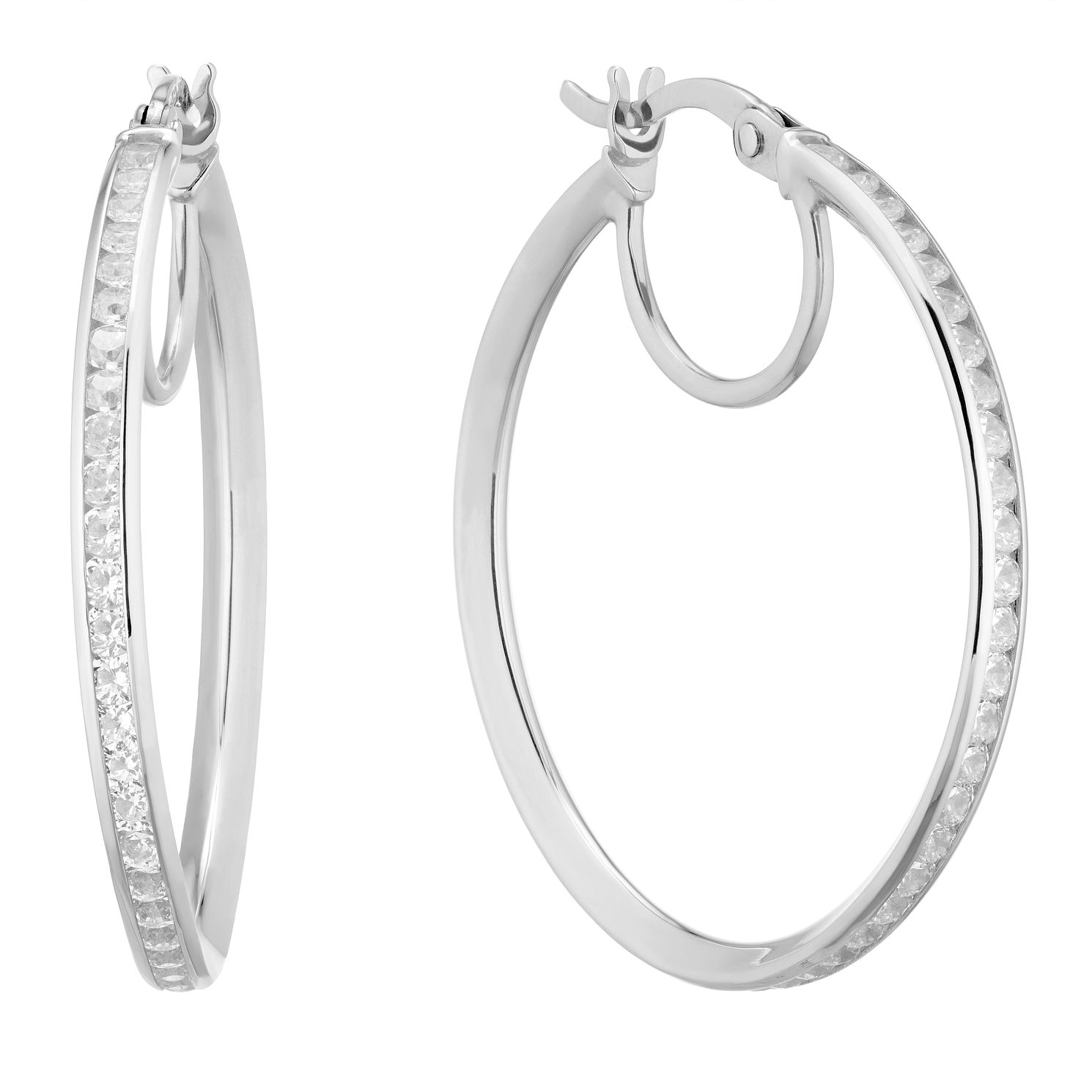 9ct White Gold Cubic Zirconia Hoop Earrings - Product number 5241340