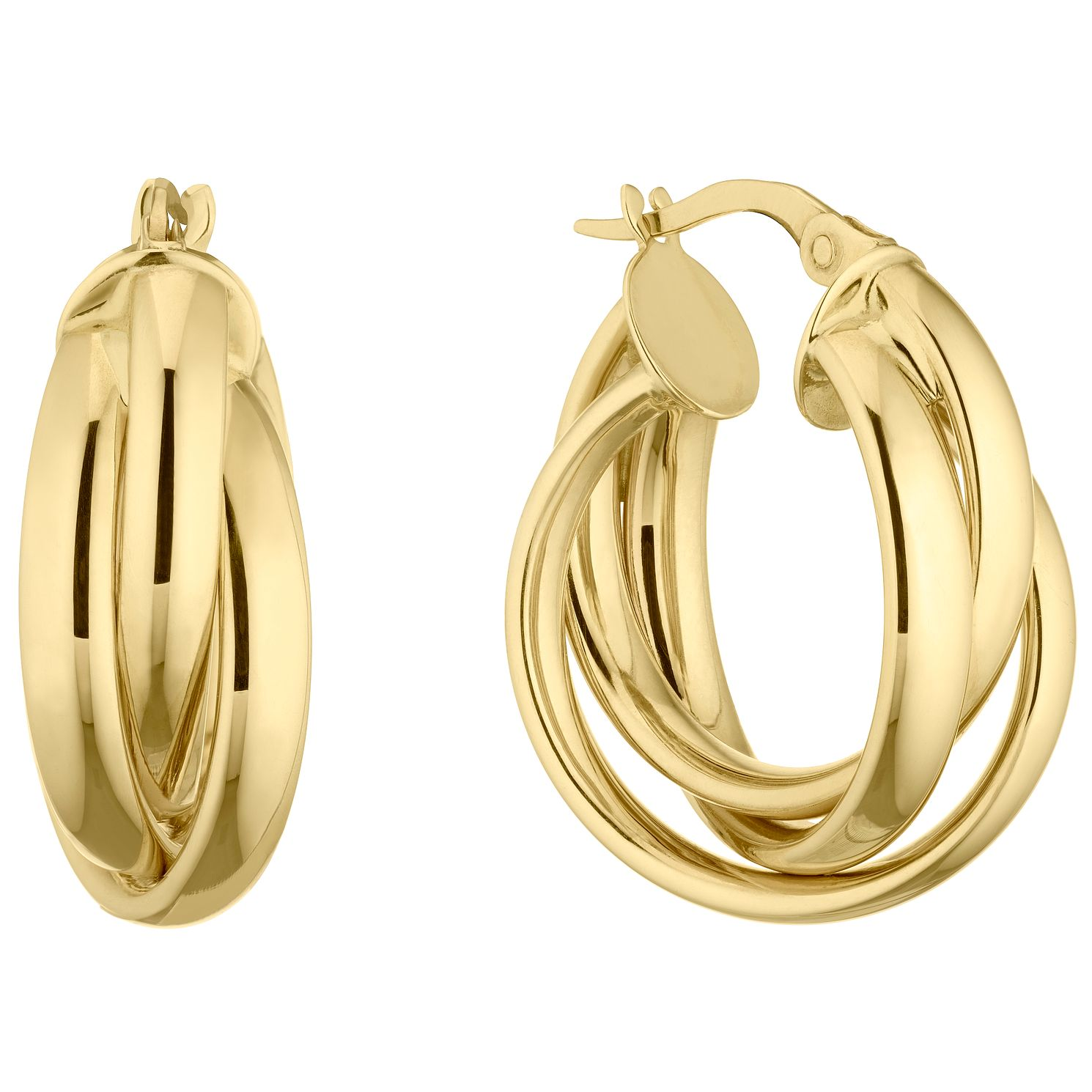 9ct Yellow Gold Triple Twist Hoop Earrings - Product number 5241367