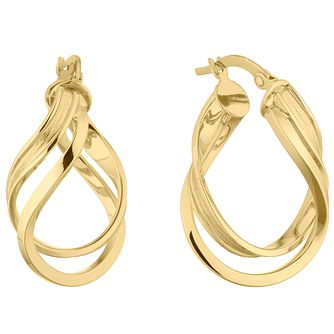 9ct Yellow Gold Double Twist Creole Hoop Earrings - Product number 5241456