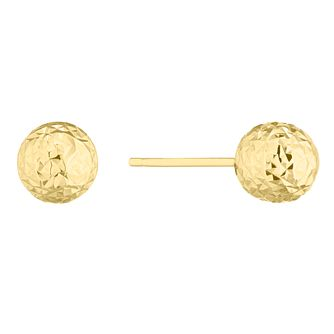9ct Yellow Gold Diamond Cut Sphere Stud Earrings - Product number 5241464